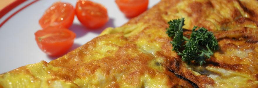 Omelette pommes de terre lardons